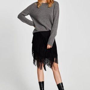 Zara black suede fringe skirt